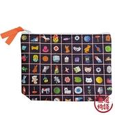 【日本製】【ECOUTE!】布質萬用包 黑色菱格圖案 SD-3800 - ecoute!