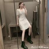 洋裝 白色泡泡袖溫柔風連身裙女夏2021新款氣質顯瘦小清新收腰雪紡裙子 開春特惠