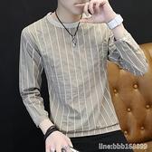 長袖T恤男 男士t恤長袖韓版潮流圓領打底衫上衣秋季新款豎條紋衛衣薄款 瑪麗蘇