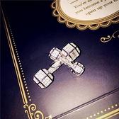 項鍊 925純銀鑲鑽墜飾-時尚啞鈴生日情人節禮物女飾品2款73gy9【時尚巴黎】
