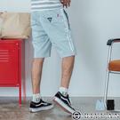 【OBIYUAN】短褲 雙線條 拉鍊口袋 鬆緊抽繩 休閒短褲 共2色【P6605】