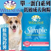 【zoo寵物商城】Wellness寵物健康》Simple單一蛋白成犬無穀鮭魚馬鈴薯食譜狗糧-4磅/包