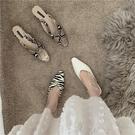 低跟鞋半拖懶人托2021年春季新款百搭蛇紋韓版簡約氣質單鞋女鞋子 快速出貨