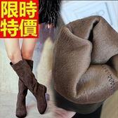 雪靴-磨砂皮平跟保暖高筒女長靴2色64aa49[巴黎精品]