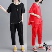 大尺碼女針織拼色不規則短袖T恤衫休閒長褲兩件時尚套 降價兩天
