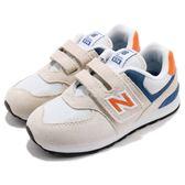 New Balance 慢跑鞋 574 NB 米白 藍 魔鬼氈 運動鞋 休閒鞋 童鞋 小童鞋【PUMP306】 IV574SNW