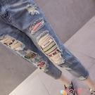 七分褲 破洞七分牛仔褲女夏季薄款老爹褲新款高腰顯瘦寬鬆九分乞丐褲 愛丫 新品
