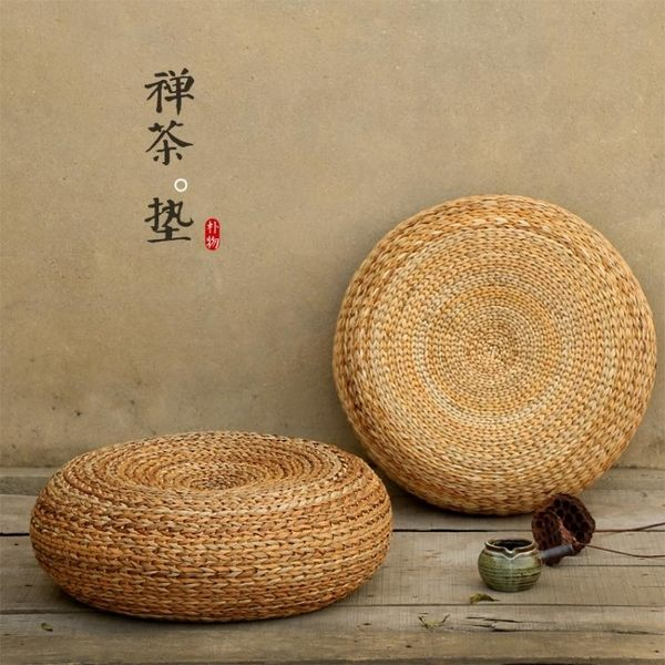 草編坐墊 定制草編蒲團日式坐墊加厚圓形茶道藤編榻榻米瑜伽打坐禪修墊地板坐墩