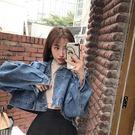 短款蝙蝠袖牛仔外套女秋2018新款韓版學生百搭長袖寬鬆夾克上衣潮  電購3C