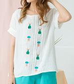 棉麻衫    居家風格蘑菇兔子刺繡棉麻衫    二色原單-CALLING