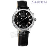 SHEEN CASIO / SHE-4031L-1A / 卡西歐璀璨 萊茵石 羅馬日期 夜光LED 亮面真皮手錶 黑色 32mm