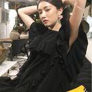 荷邊袖短袖洋裝 設計感荷葉邊飾連身裙 艾爾莎【TGK6936】