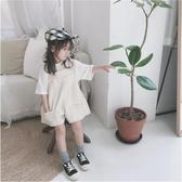 韓版男女童夏款連體吊帶褲 兒童休閒個性寬管背帶短褲184