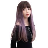 整頂假髮(長髮)-自然空氣瀏海直髮女假髮4色73vs62【巴黎精品】