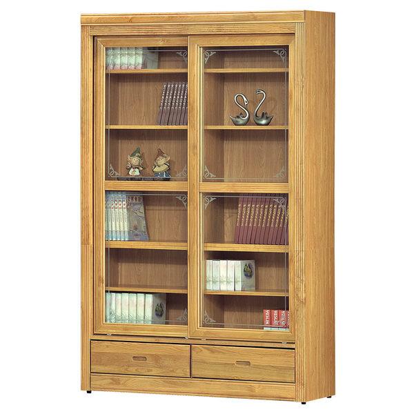 【森可家居】赤陽4尺推門下抽書櫃 8SB243-6 玻璃書櫥
