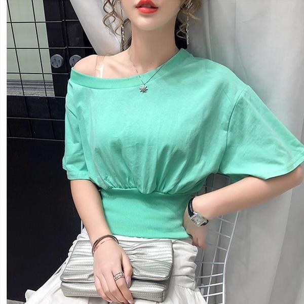 短袖T恤~時尚百搭不規則蝙蝠袖一字領短袖T恤女寬松露肩純色HF221A日韓屋