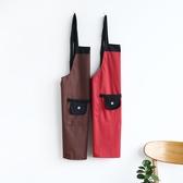 廚房圍裙防水防油家用女背心式加厚創意情侶成人日式做飯護衣罩衣
