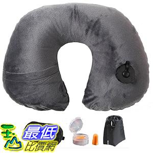 [美國直購] 航空坐飛機用頸枕睡枕枕頭 Lucear 5936828 Inflatable Travel Pillow Set- Velvet Travel Neck Pillow