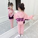 女童金絲絨運動加絨套裝兒童免運新款秋冬中大童休閒加厚兩件套