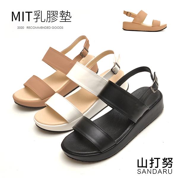 涼鞋 寬版側釦皮革厚底鞋