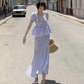 藍白條紋長裙韓國套裝   ♥ onetwo♥