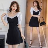 修身洋裝短袖連身裙韓小個子裙子顯瘦色女裝輕熟風連身裙性感氣質女神范T243B紅粉佳人