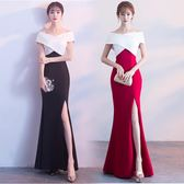 長禮服女2018新款韓版修身顯瘦聚會時尚氣質包臀魚尾開叉裙 DN13158【旅行者】