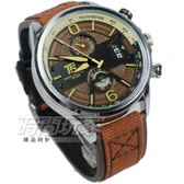 T5 sports time 雙眼 休閒 真三眼計時手錶 男錶 防水 日期視窗 皮革 帆布 咖啡色 TH3584咖