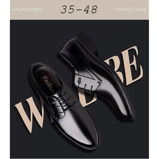 大尺碼男鞋小尺碼男鞋圓頭素面綁帶商務皮鞋正式鞋工作鞋黑色(35-48)現貨#七日旅行