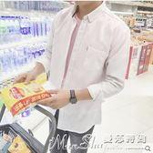 亞麻長袖襯衫秋季亞麻長袖襯衫男士韓版修身青少年休閒白色襯衣潮男裝外套 曼莎時尚