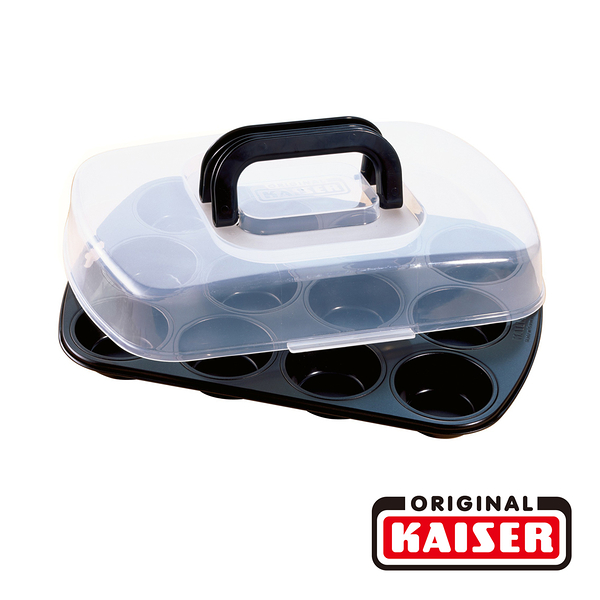 【德國KAISER】 Bake&Take 馬芬蛋糕烤模12入(附蓋)38x27公分