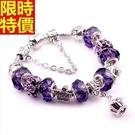 串珠手鍊-水晶飾品精美紫色皇冠歐美流行配...