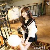 jk制服甜美水手服女夏裝海軍上衣風班服韓版學生學院風連衣裙套裝 【PINK Q】
