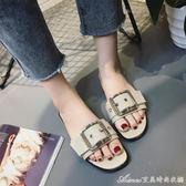 拖鞋 韓版夏季新款拖鞋女夏時尚外穿簡約百搭露趾平底沙灘一字涼拖  艾美時尚衣櫥