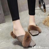 2018秋季新款韓版時尚外穿包頭半拖鞋女百搭方頭平底毛毛懶人拖潮 米蘭街頭