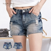 短褲--獨特個性風格褲頭單邊飾拉鍊設計前後刷破牛仔短褲(S-7L)-R122眼圈熊中大尺碼