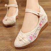 漢服棉鞋 漢服棉鞋 老北京布鞋女民族風舞蹈鞋厚底內增高漢服繡花鞋坡跟刺繡古風鞋子   瑪麗蘇