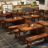 實木飯店快餐桌椅面館小吃店燒烤餐廳戶外仿古火鍋店桌椅組合 LannaS YTL