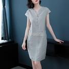 棉麻2021夏季新款連衣裙v領寬鬆胖mm大碼顯瘦遮肚子減齡亞麻裙子 快速出貨
