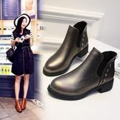 短靴女 歐美秋冬短靴女粗跟圓頭馬丁靴復古學生切爾西靴學生短筒單靴裸靴 小宅女