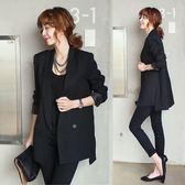 秋冬季修身長袖中長款女小西裝外套韓版大碼小西服     韓小姐
