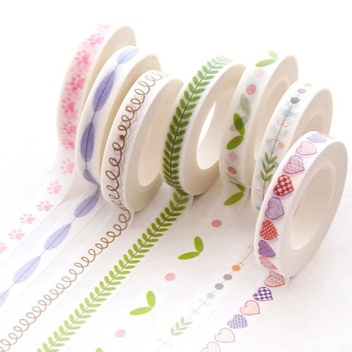 【超取499免運】日式手繪小清新和紙膠帶 細款手帳素材邊框膠帶 創意裝飾貼紙