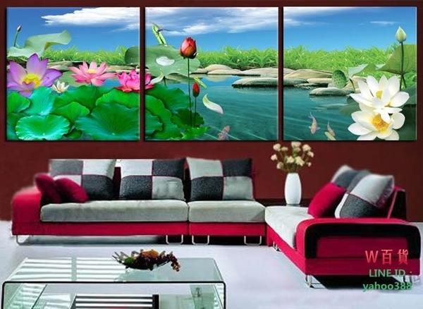 無框畫裝飾畫掛畫沙發背景裝飾客廳臥室掛畫墻壁畫三聯魚戲新荷