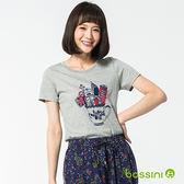 印花短袖T恤56淺灰-bossini女裝