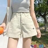 牛仔短褲 白色超短褲女寬鬆牛仔褲夏季2021新款熱褲小個子直筒闊腿高腰褲子 寶貝計畫 618狂歡
