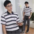 【大盤大】(P36108) 男 台灣製 短袖口袋上衣 POLO衫 條紋保羅衫 寬鬆舒適 88節禮物【剩M和L號】