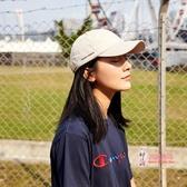 棒球帽 杏色側邊小字母棒球帽女生韓版復古軟頂遮陽帽子街頭鴨舌帽男 4色