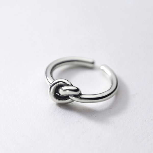 925純銀 個性復古 打結愛心 C型可調整戒指 防抗過敏 不退色