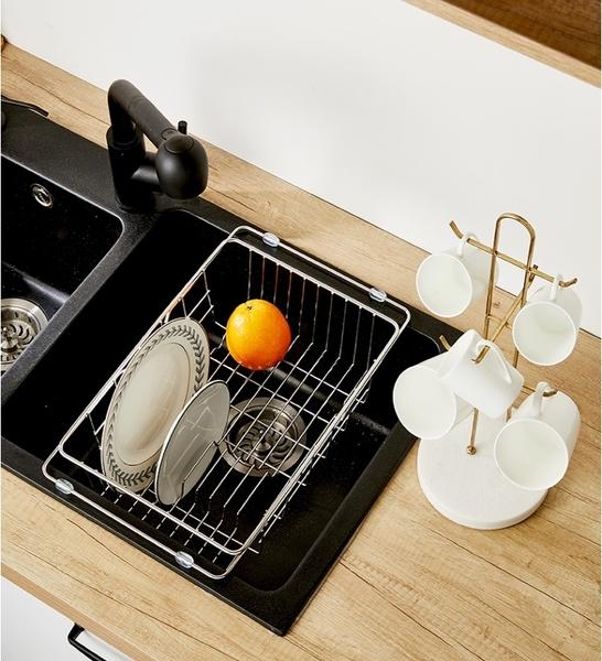 304不鏽鋼伸縮瀝水籃 瀝水架 水槽瀝水架 碗盤瀝水架 碗盤架 瀝水架【RS1190】