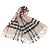BURBERRY 經典格紋喀什米爾羊毛圍巾(米白色)089540-2
